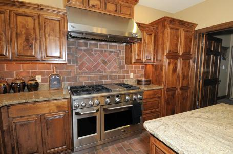 Kitchen decorative brick backsplash