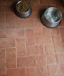 Dog prints in custom brick tile