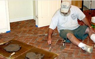 Grouting Inglenook brick tile