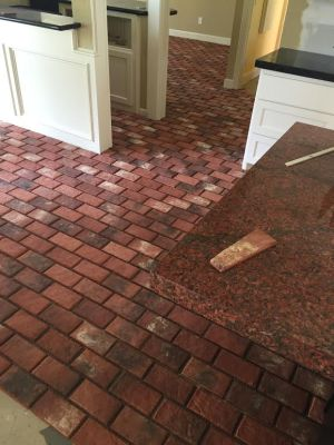 Inglenook brick tile ready to grout
