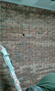 Using spacers in Inglenook thin brick tile wall installation